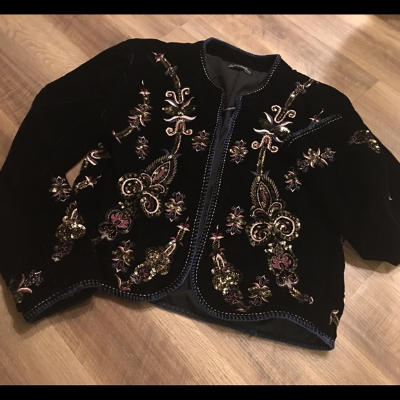 Zara Jackets & Blazers - Zara black velvet embroidered/embellished jacket